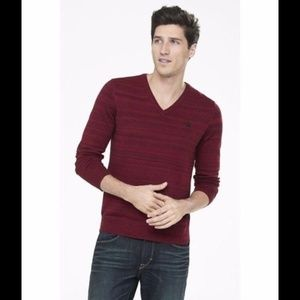 Express Marled Smal Lion V-Neck Sweater Red XL